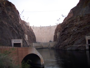 A view of the Hoover Dam from our kayak put in site