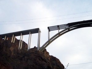 A view of the unfinished new bridge that will bypass the Hoover Dam.