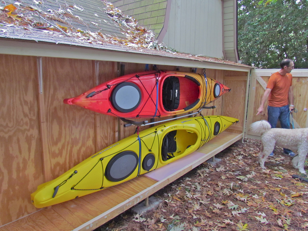 Kayak storage kayaking delmarva for Canoe storage shed