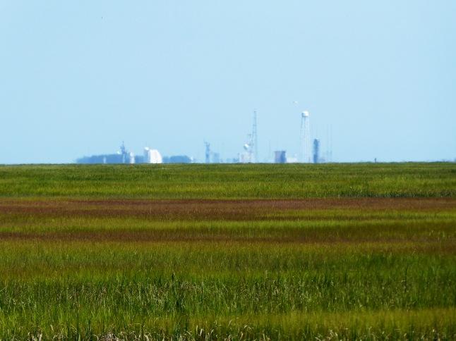 NASA facilities at Wallops Island in distance