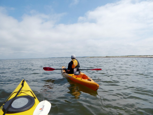 Paddling East out in the bay