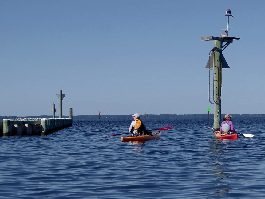 Paddling by the breakwater