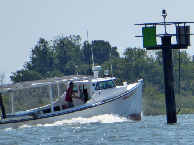 A working fishing boat heads out into the Chesapeake Bay
