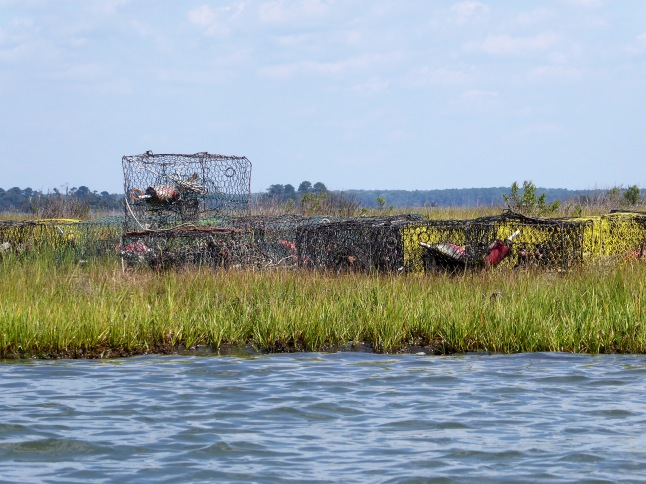 Beached crab traps and floats