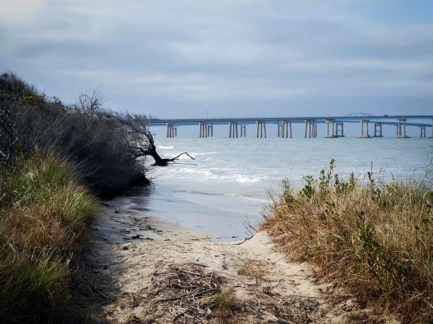 Beach view of the Chesapeake Bridge and Bay Tunnel
