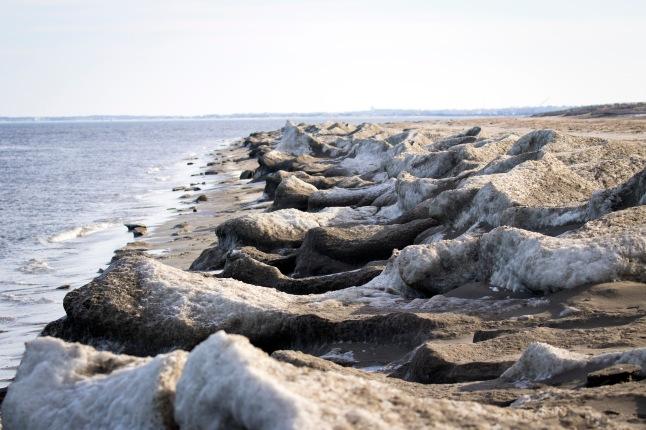 Ice blocks marooned on the beach