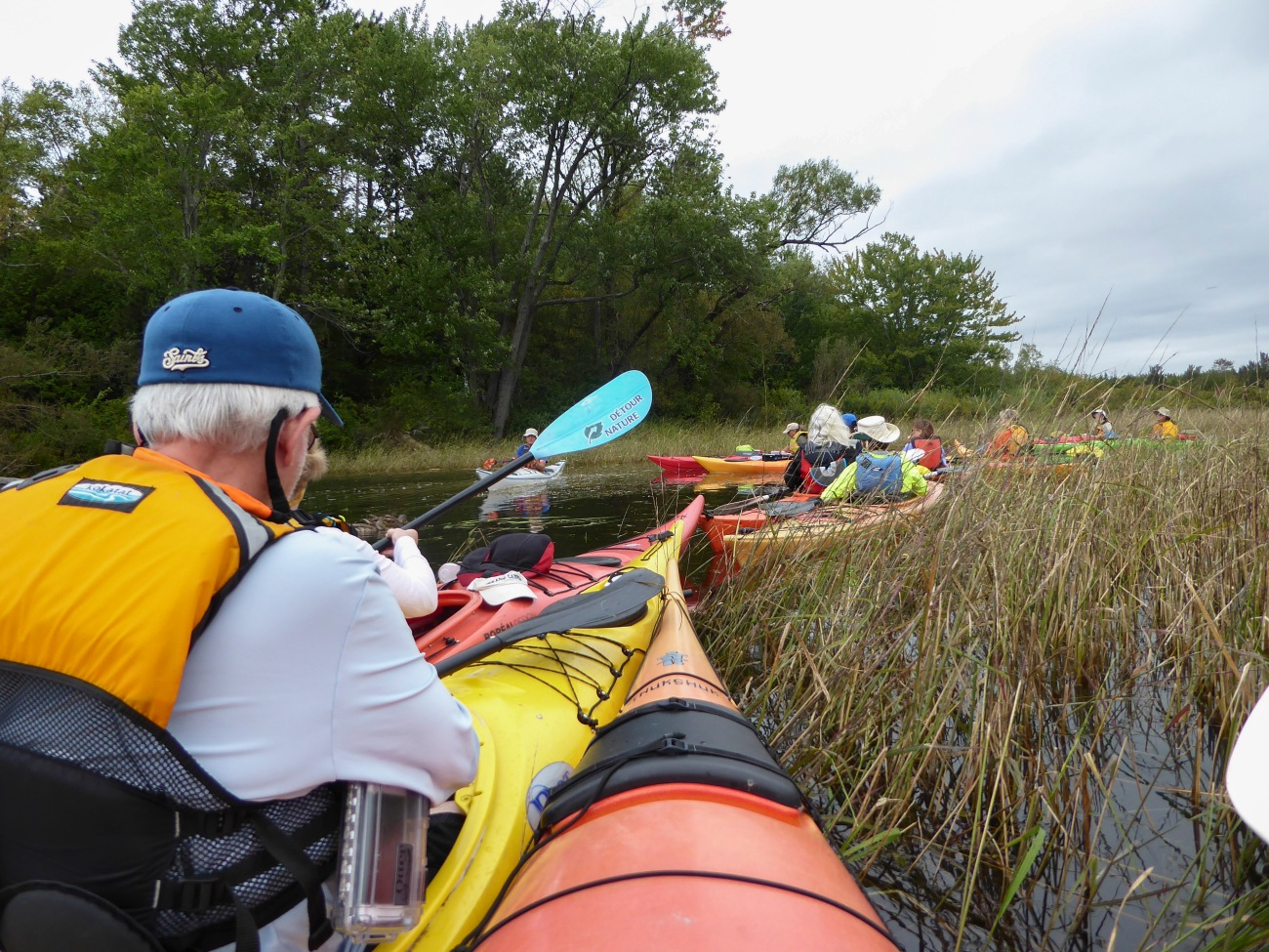 20180918_105843_Staging kayaks in the grass before passing through the culvert into Brome Lake